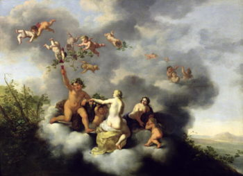 Ceres Bacchus Venus and Cupid   Cornelis van Poelenburgh   oil painting