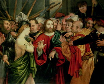 Christ and the Woman Taken in Adultery | Jan Sanders van Hemessen | oil painting