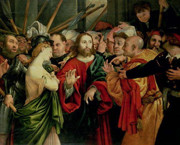 Christ and the Woman Taken in Adultery | Jan Sanders van Hemessen | oil painting