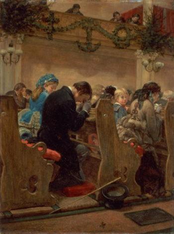 Christmas Prayers 1872   Henry Bacon   oil painting