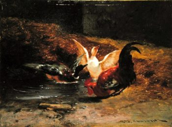 Cockerel with two ducks | Philibert Leon Couturier | oil painting