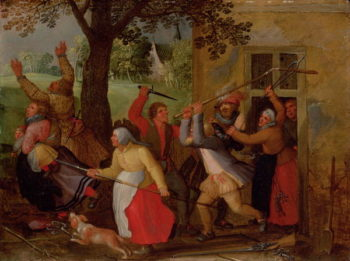 Country Pub Brawl | David Vinckboons | oil painting