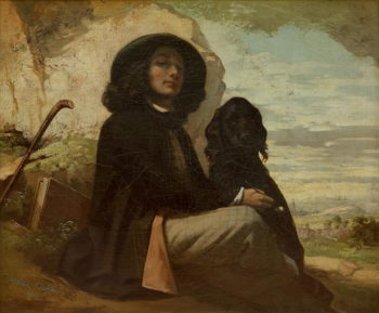 Courbet with his Black Dog 1842 | Gustave Courbet | oil painting