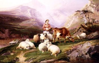 Cow and Sheep on a Mountain Pasture | Thomas Sidney Cooper | oil painting