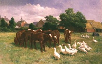 Cows and Ducks | Claude Cardon | oil painting