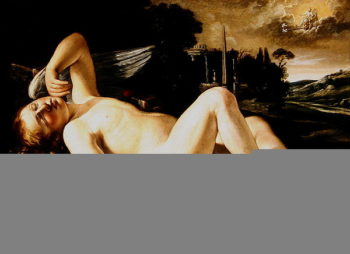 Cupid Asleep Approached by Venus in her Chariot | Orazio Riminaldi | oil painting