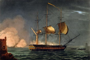Cutting out of the Hermione from the Harbour of Porto Cavallo | Thomas Whitcombe | oil painting