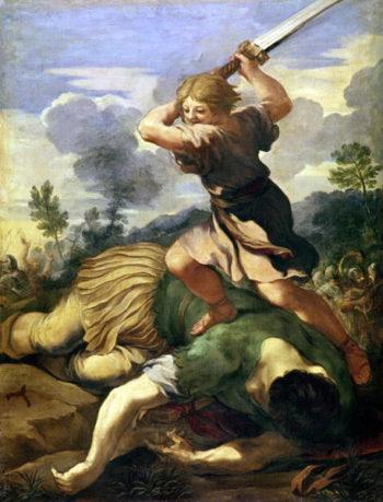 David killing Goliath   Pietro da Cortona   oil painting