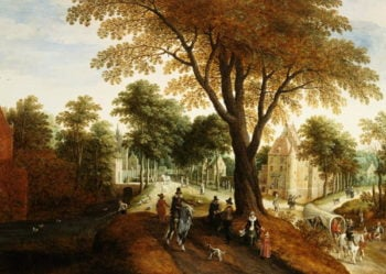 Elegant Horsemen and figures on a path in front of a chateau | Sebastian Vrancx | oil painting