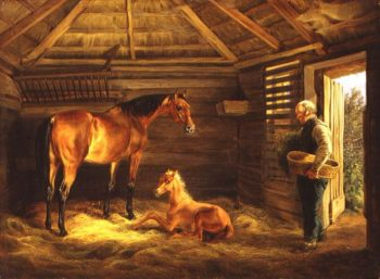 English Mare With Her Foals 1833 | Albrecht Adam | oil painting