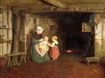 Expectation Interior of a Cottage with a Mother and Children 1854 | Frederick Daniel Hardy | oil painting