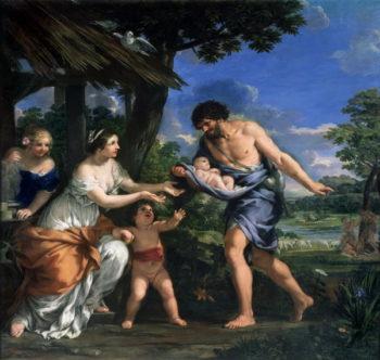 Faustulus entrusting Romulus and Remus to his wife Acca Larentia 1643   Pietro da Cortona   oil painting