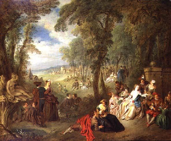 Fete in a Park 1720s   Jean Baptiste Joseph Pater   oil painting