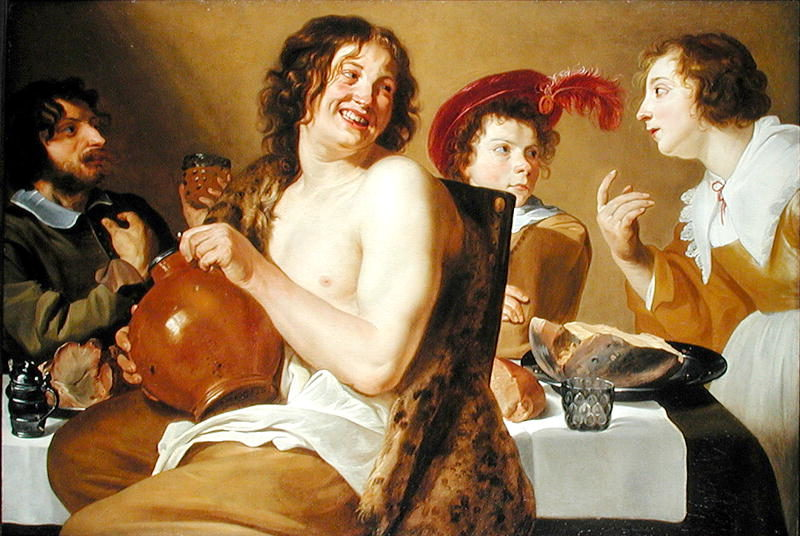 Figures eating and drinking around a table 1634 | Theodor Rombouts | oil painting