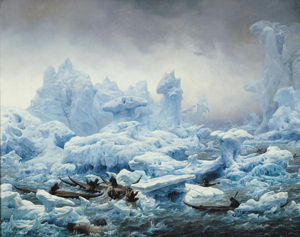 Fishing for Walrus in the Arctic Ocean 1841   Francois Auguste Biard   oil painting