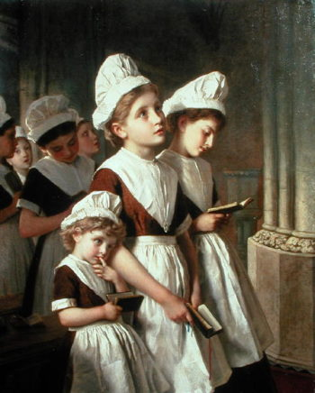 Foundling Girls at Prayer in the Chapel 1877 | Sophie Anderson | oil painting