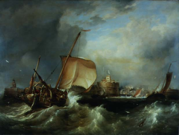 French Herring Boat Running into the Port off Havre de Grace | Edward William Cooke | oil painting