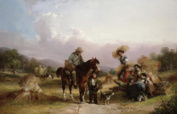 Harvesters Greeting Two Travellers   William Shayer   oil painting