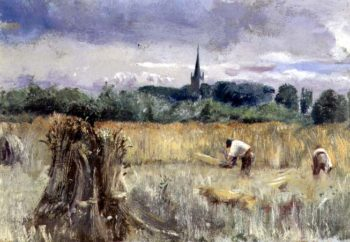 Harvest Field Stratford upon Avon | John William Inchbold | oil painting