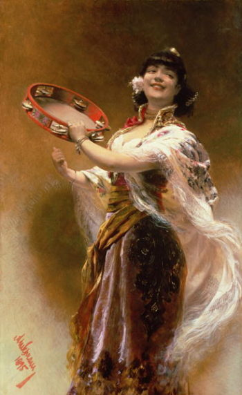 Gypsy Girl with a Tambourine | Alois Hans Schram | oil painting