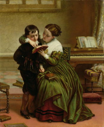 George Herbert and His Mother | Charles West Cope | oil painting
