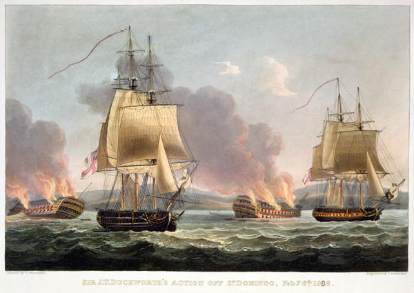 J T Duckworth's Action off St Doming 1816   Thomas Whitcombe   oil painting