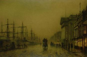 Liverpool Docks Customs House and Salthouse Docks Liverpool | John Atkinson Grimshaw | oil painting