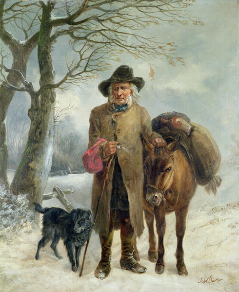 Gathering winter fuel | John Barker | oil painting
