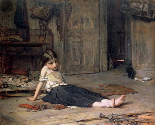 Girl by the Fireside 1867 | Frank Holl | oil painting