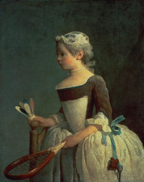 Girl with Racket and Shuttlecock | Jean Baptiste Simeon Chardin | oil painting