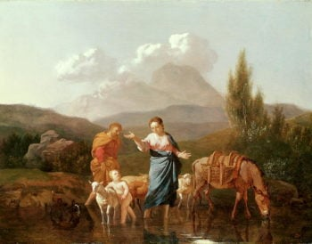 Holy family at a stream | Karel Dujardin | oil painting