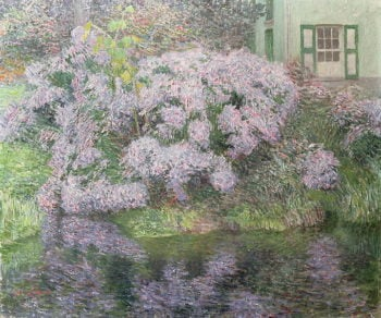 Hydrangeas on the banks of the River Lys 1898 | Emile Claus | oil painting