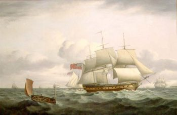 Indiamen a cutter and lugger in choppy seas | Thomas Luny | oil painting