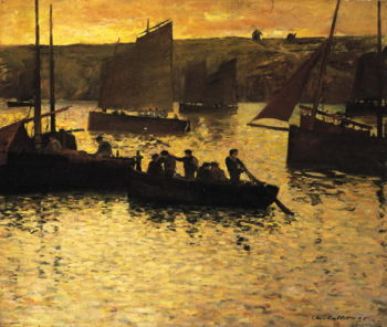In the Port 1895 | Charles Cottet | oil painting