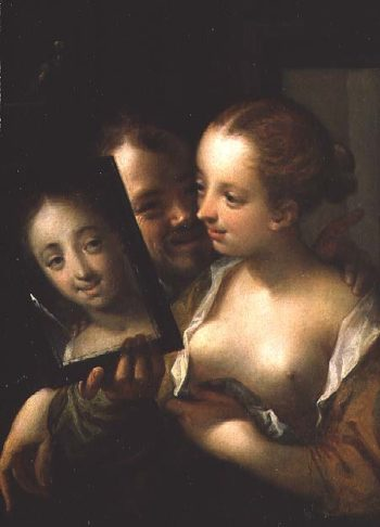 AachenLaughing Couple with a mirror 1596 | Hans von Aachen | oil painting