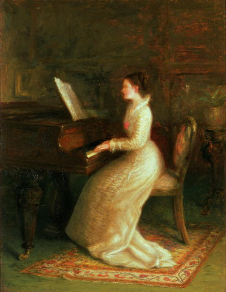 Lady at the Piano   Joseph Farquharson   oil painting