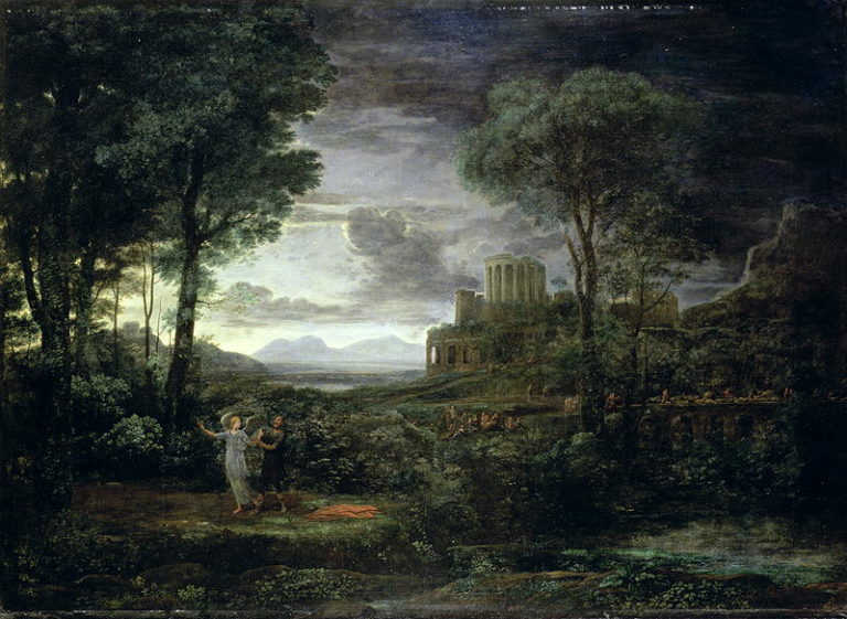 Landscape with Jacob Wrestling with the Angel or Night 1672   Claude Lorrain   oil painting
