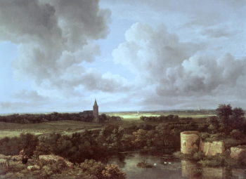 Landscape with Ruined Castle and Church 1665 70 | Jacob Isaaksz or Isaacksz van Ruisdael | oil painting