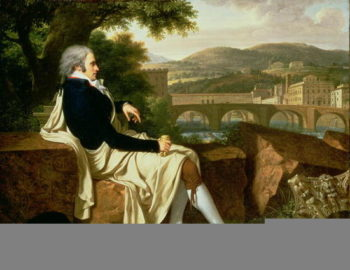 llen Smith seated Above the River Arno contemplating Florence 1797 | Francois Xavier Fabre | oil painting