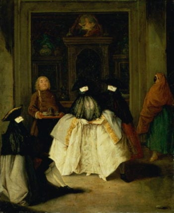 Masked Figures in a Venetian Coffee House | Pietro Longhi | oil painting
