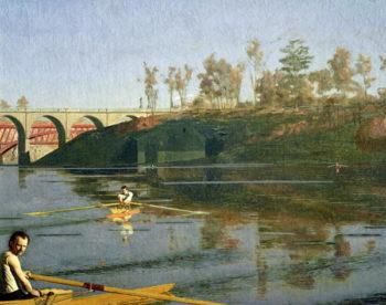 Max Schmitt in a Single Scull 1871 | Thomas Cowperthwait Eakins | oil painting