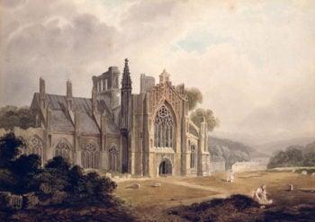 Melrose Abbey Roxburghshire   Thomas Miles Richardson   oil painting
