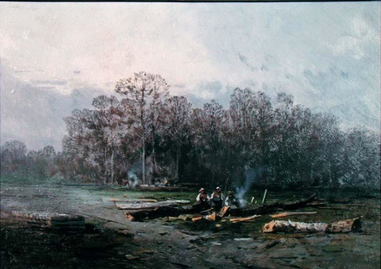 Misty Landscape with Woodcutters | Eugene Deshayes | oil painting