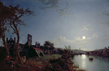 Morning with a View of Kirkstall Abbey | Henry Pether | oil painting