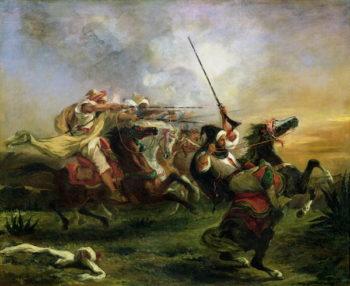 Moroccan horsemen in military action 1832   Delacroix   oil painting