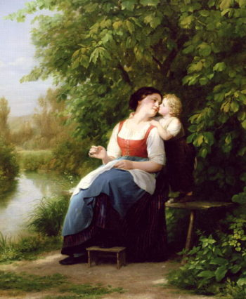 Mother and Son | Fritz Zuber Buhler | oil painting