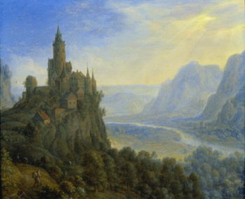 Mountainous landscape with a castle | Cornelis Saftleven | oil painting
