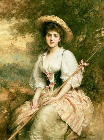 Mrs Stuart M Samuel as Phyllida The Shepherdess | Sir Samuel Luke Fildes | oil painting