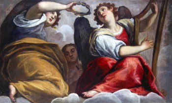 Musical Angels with a Cymbal and a Harp | Palma Il Giovane | oil painting