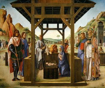 Nativity Scene with Saints James Eustacius Nicholas and Mark | Lazzaro Bastiani | oil painting